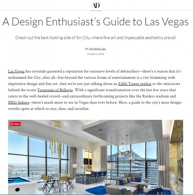 Architectural Digest - The Cosmopolitan Las Vegas