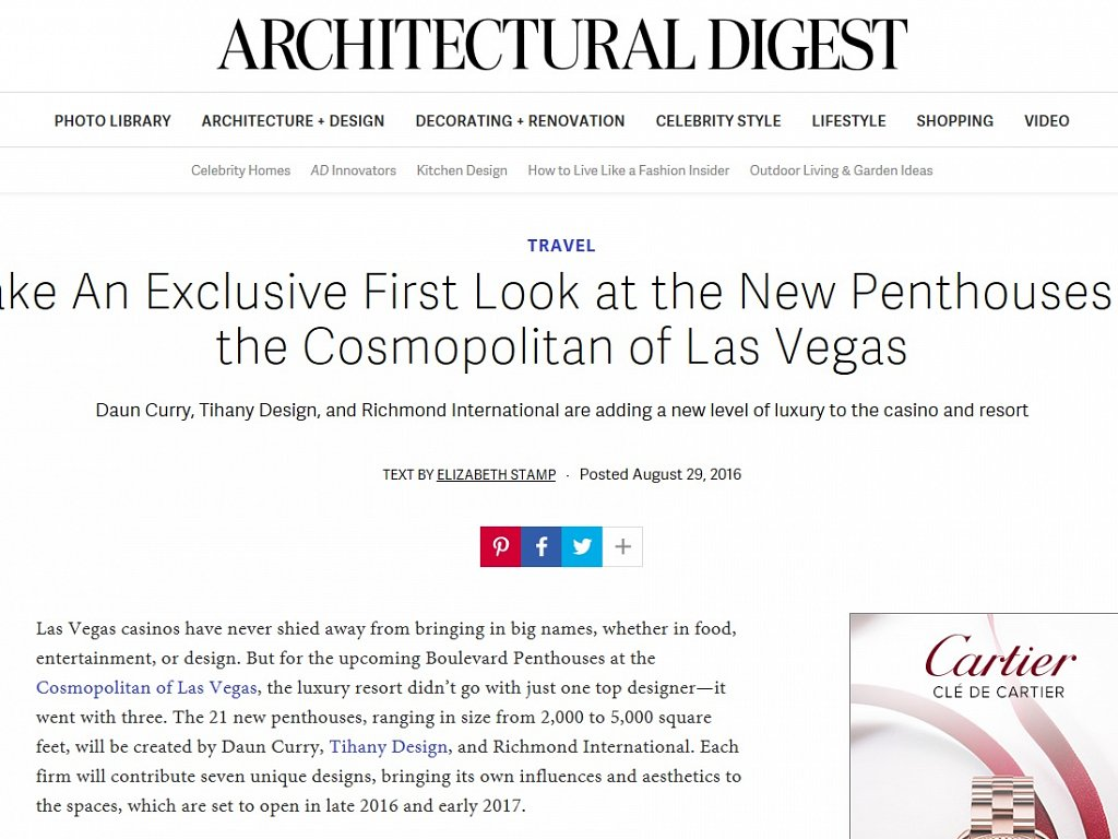 Architectural Digest - New Penthouses at the Cosmopolitan, Las Vegas