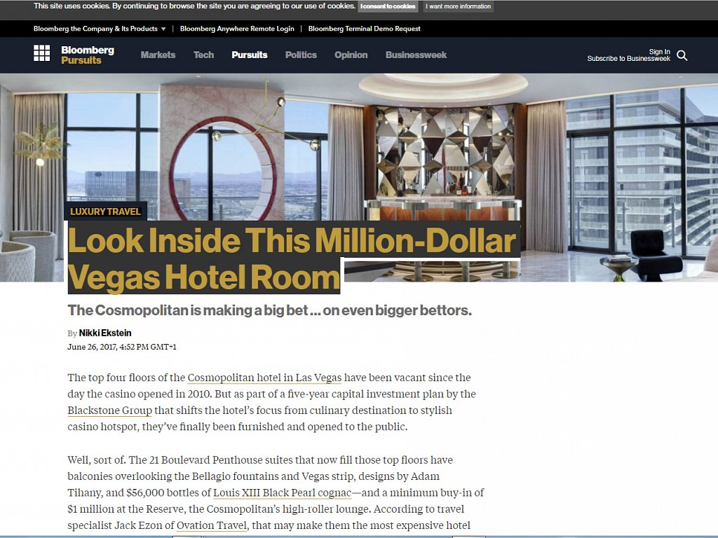 bloomberg.com -  Look Inside these Million-Dollar Vegas Hotel Rooms at The Cosmopolitan