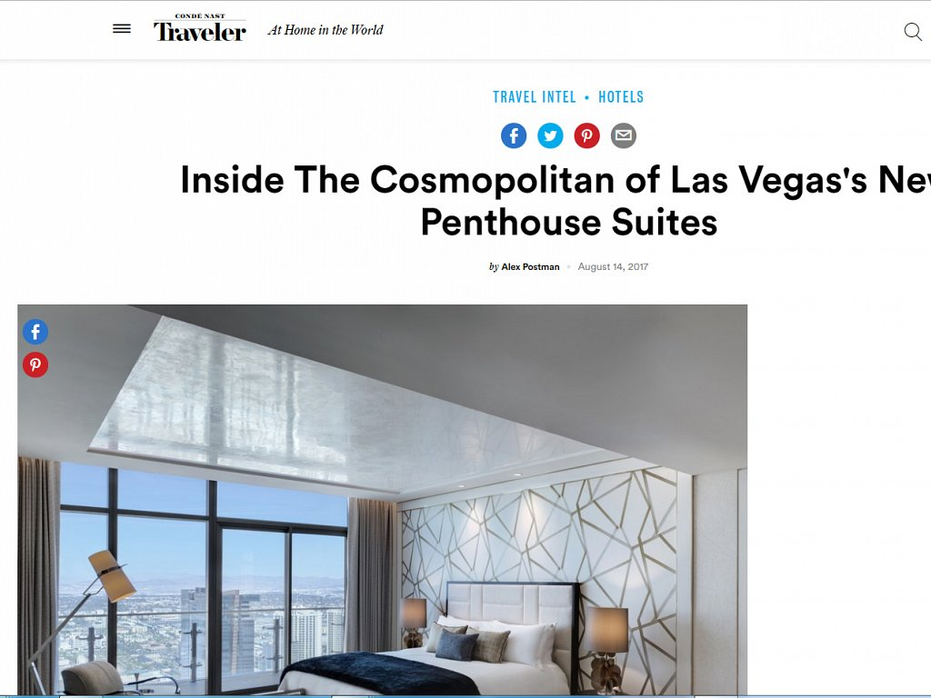 Conde Nast Traveler - Inside The Cosmopolitan of Las Vegas's New Penthouse Suites