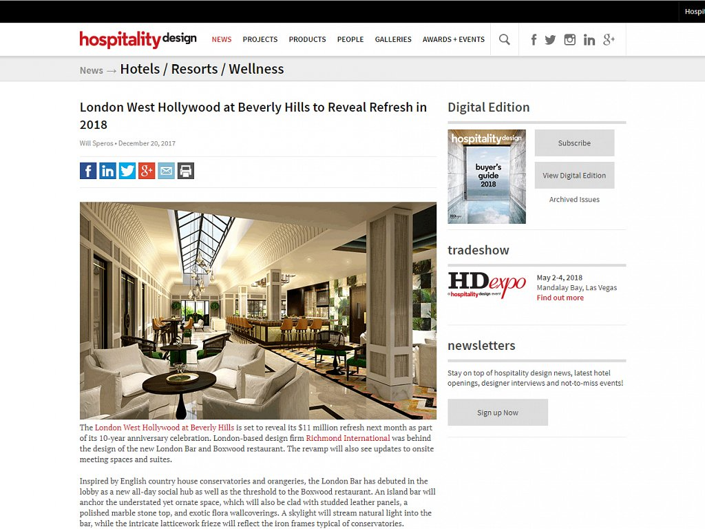 Hospitality Design - The London West Hollywood New Restaurant Design