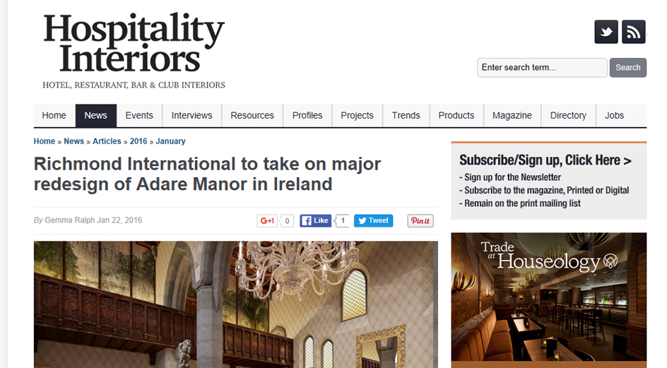 Hospitality Interiors - Adare Manor