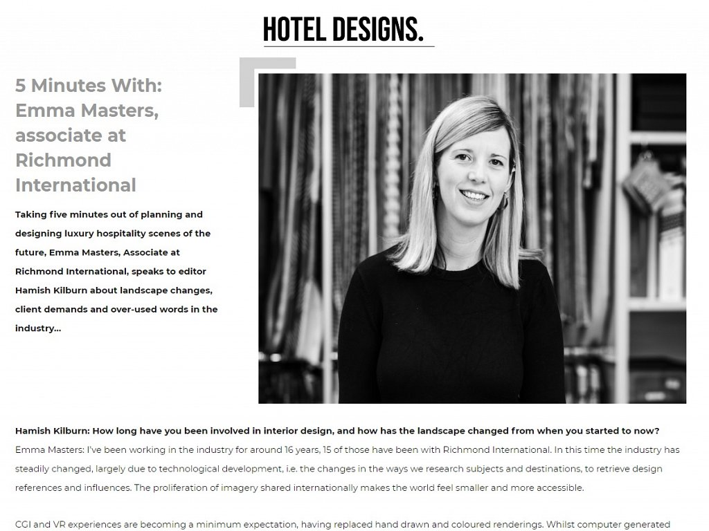 Hotel Designs - 5 Minutes With: Emma Masters