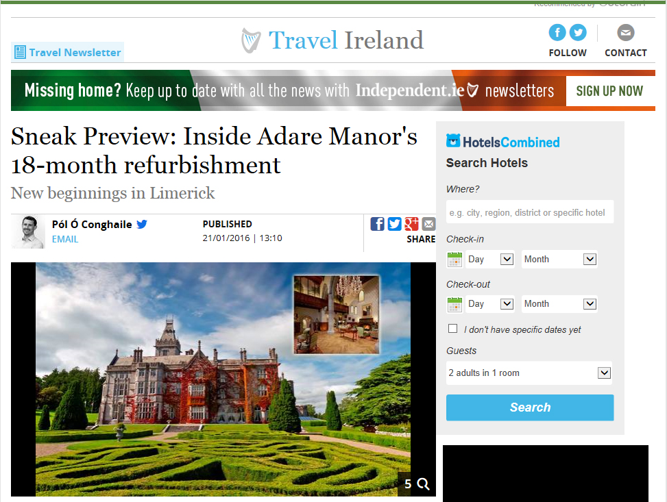 Irish Independent - Adare Manor