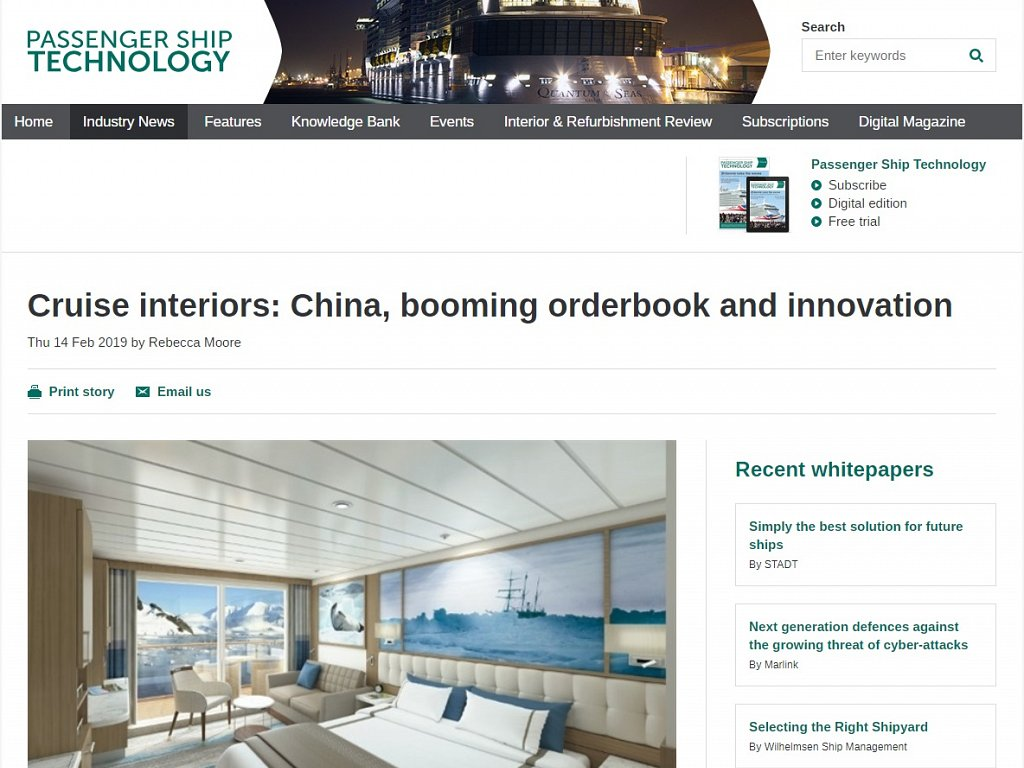 Passenger Ship Technology - Cruise interiors: China, booming orderbook and innovation